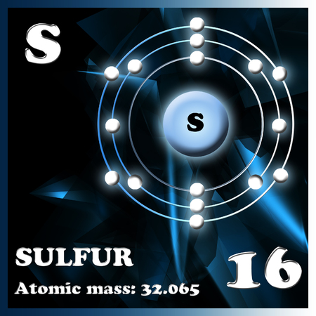 sulfur: Symbol and electron diagram for Sulfur illustration Stock Photo