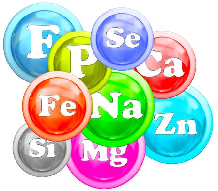 phosphorus: Balance of micro elements isolated on a white background
