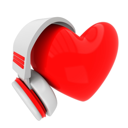 loveheart: Red Love Heart with Headphones Stock Photo
