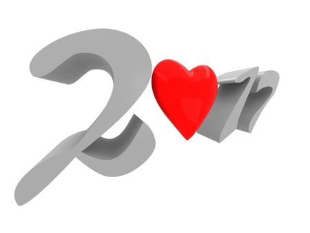 The word 2017 with heart Stock Photo