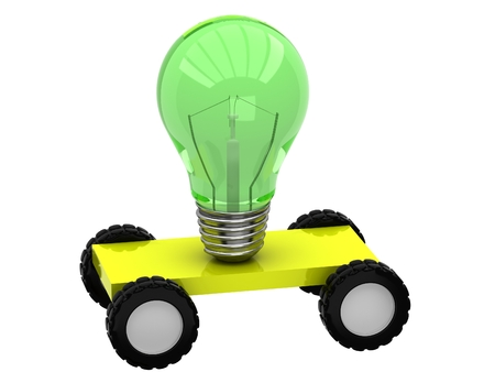 3D lamp on wheels on a white background