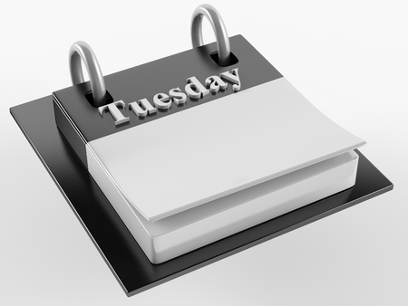 tuesday: 3d Desktop calendar with a inscription Tuesday