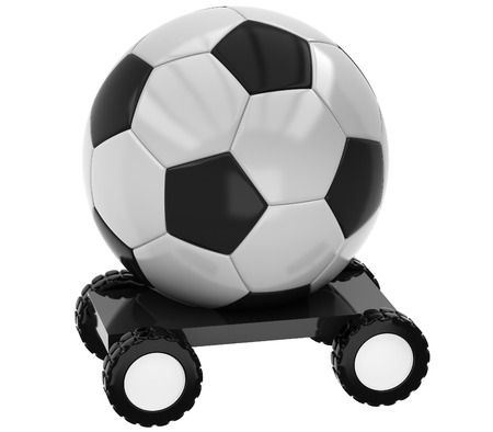 soccer team: 3D Football on wheels on a white background Stock Photo