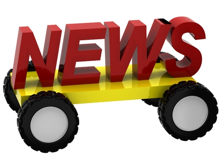 pitching: 3d Symbols news on wheels on white background
