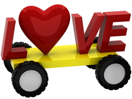 3D Inscription love with heart on wheels Stock Photo