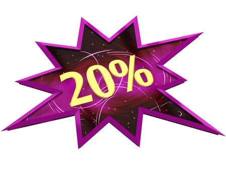 Sale and discount price sign 20% Stock Photo