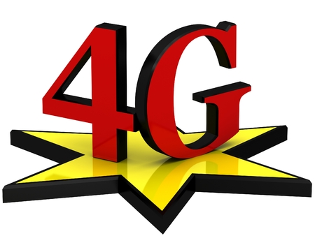 bandwidth: 3D letters 4G on the yellow star Stock Photo