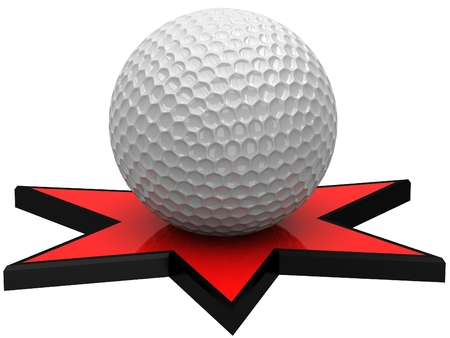 pied: 3D golf ball on the red star Stock Photo