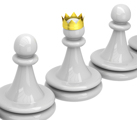 3D Chess. Chess Pawns and queen pawn Stock Photo