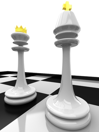 3D Chess. Queen and King Stock Photo