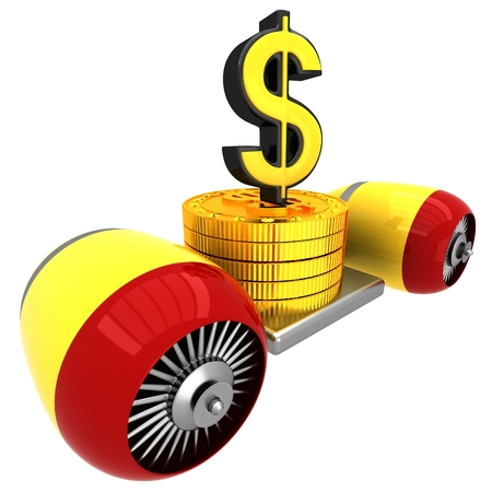3D Dollar sign on flying engine