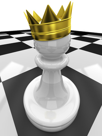 preferment: 3D Chess Pawn with a crown Stock Photo