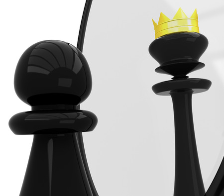 battle plan: Chess Pawn sees in the mirror like a queen Stock Photo