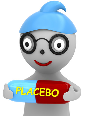 3D Cartoon man with a capsule with an inscription placebo