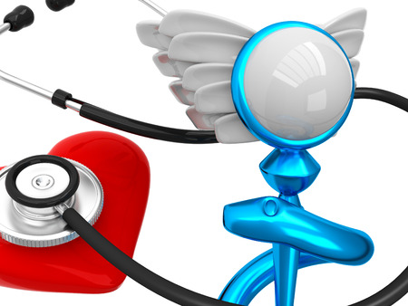 3D Caduceus Medical Symbol with heart and stethoscope