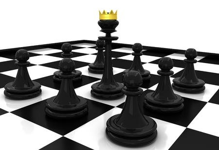 3D Chess. Chess Pawns and queen