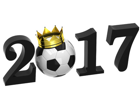3D word with football 2017 Stock Photo