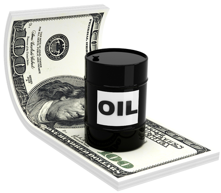 barell: 3D barrels of oil on the background of 100 dollar bill