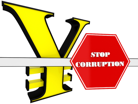 3D Sign of stop corruption with the yen sign