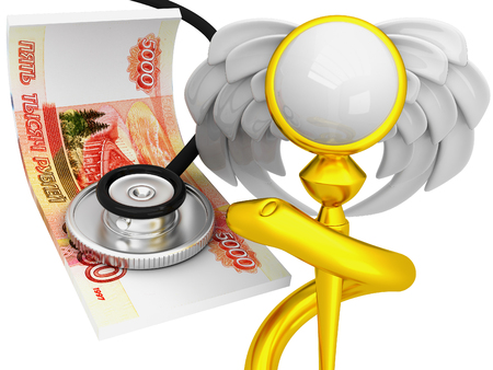 doctor money: The 3d concept of paid medicine with rubles
