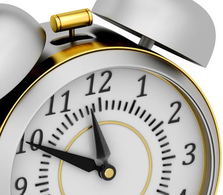 big timer: 3d retro alarm clock on white background