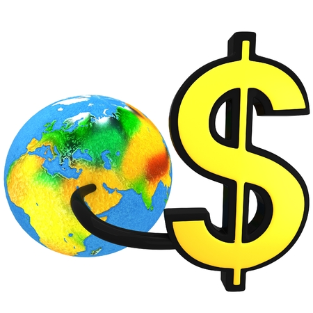 3D pipes attached to dollar sign and planet Earth Stock Photo