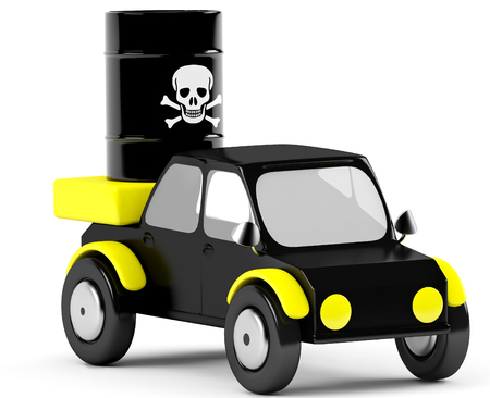 3D poison barrel in a black car Stock Photo