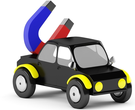 3D magnet in a black car on a white background