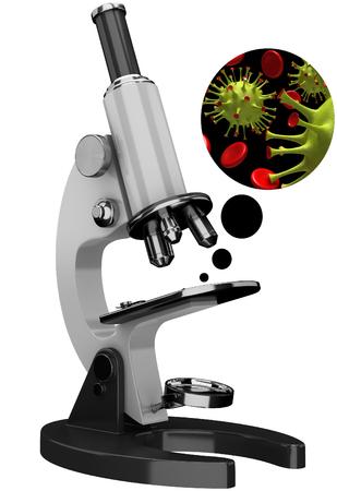 3D retro vintage microscope on a white background
