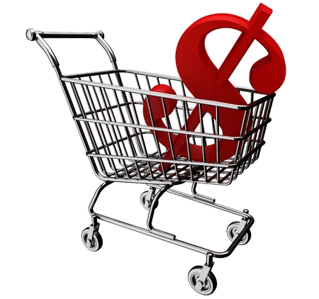 3D shopping cart with the dollar symbol