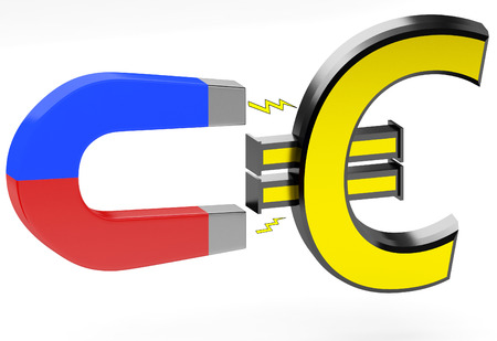 magnetismo: 3d magnet and euro sign