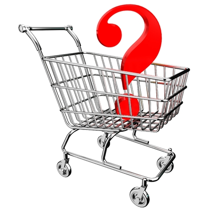 3D shopping cart with question mark Stock Photo