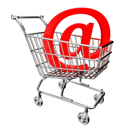 3D shopping cart with mail sign