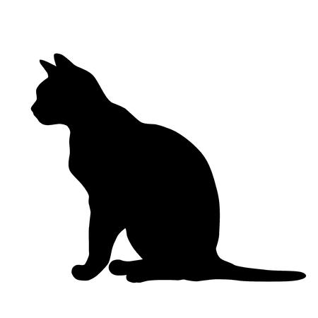 Sylwetka wektor kota siedzącego, kolor czarny, izolowana na białym tle