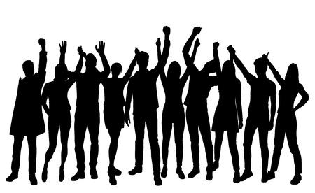 Impostare sagome uomo e donna in piedi con le mani in alto, gruppo di persone, colore nero isolato su sfondo bianco Vettoriali