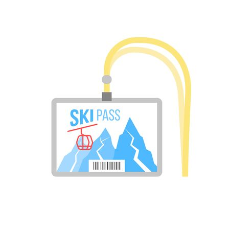 ski pass badge with barcode. blank ski pass horizontal layout template in plastic holder with yellow lanyard for skier. mountains and snow on white background.