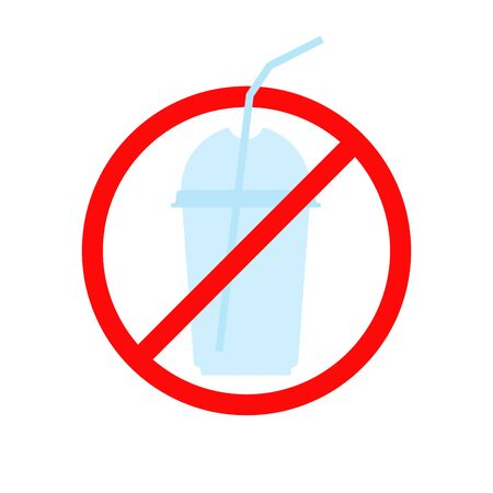 stop using plastic cup and straw sign