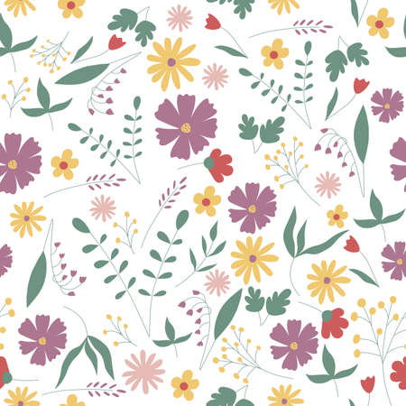 seamless vintage floral set pattern Vector Illustration