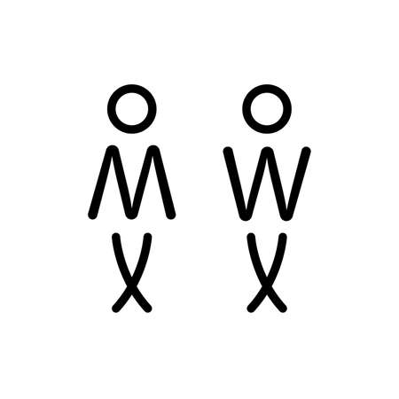 linear toilet sign wc for man and woman Vektoros illusztráció