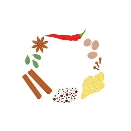 set of bright spices and condiments Ilustração
