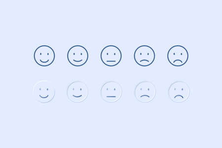 customer service satisfaction and five emoticons icons
