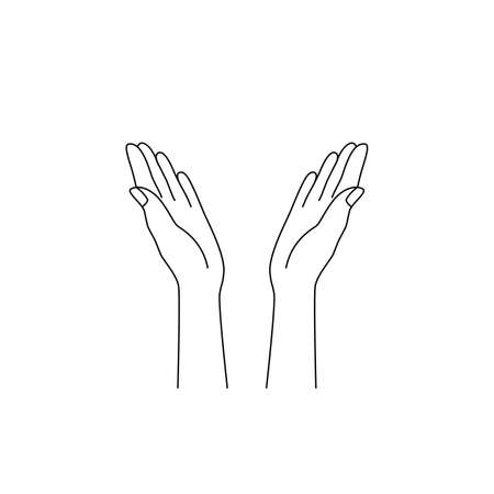 thin line hands raised up icon