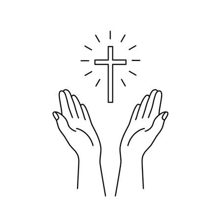 linear hands raised up and cross icon