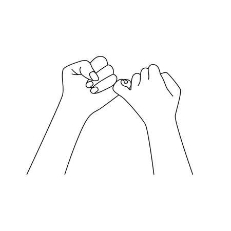 sketch of couple holding little fingers