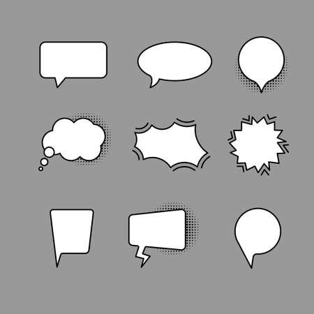 linear set of speech bubbles