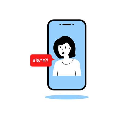 woman swears in the phone Vettoriali