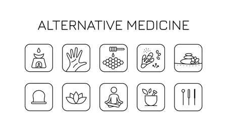 black alternative medicine icons set Illustration