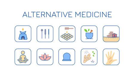 alternative medicine color icons set Illustration