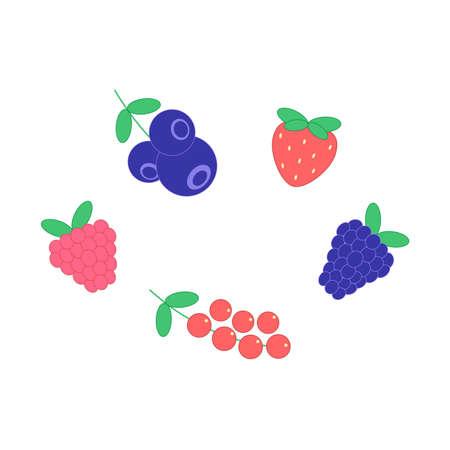 raspberries, strawberries, currants, blackberries, blueberries set