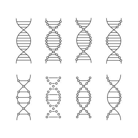 black linear dna icons set Vektorové ilustrace